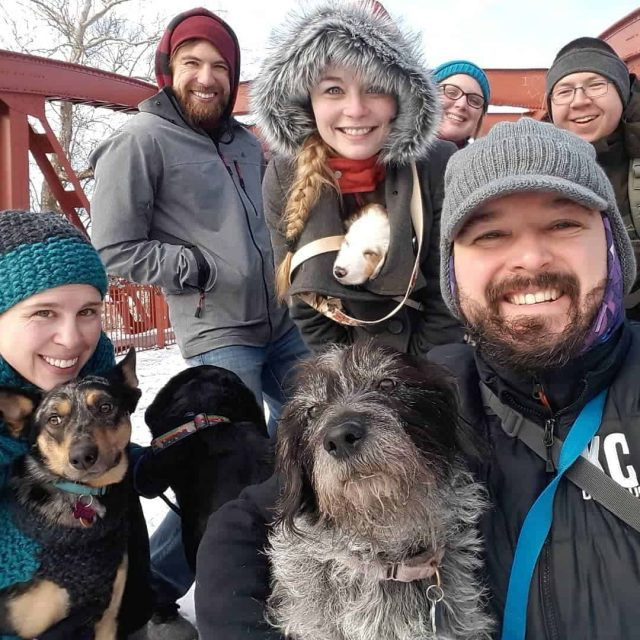 KC Dog Club Hiking at the Old Red Bridge in Minor Park in the Winter