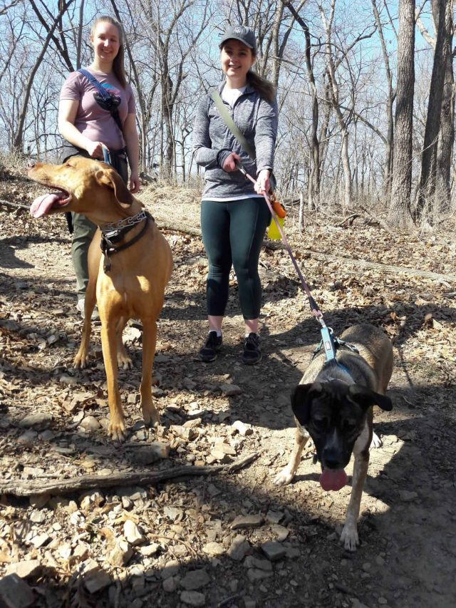 Riley Siuda and Paige Shoemaker hiking at Swope Park Trails with KC Dog Club